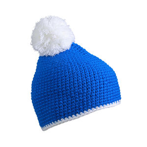 Pompon Hat with contrast strip